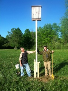 Bat Houses in Warner Park. Wild Warner, at the bequest of DNR, has built two bat houses in Warner Park to help return bats to healthy populations. Paul Noeldner, left, and Mike Rewey along with Iris Hengst and Tim Nelson built the houses. For more information on the nests, the DNR effort and the June 1 Bat Fest at Warner, read our blog.