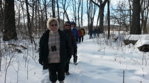 Sixteen people tramped through the woods in the February Bird and Nature Walk (Paul Noeldner)