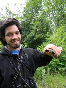 Jonathan Santanna rescues a turtle he found in Warner Park. (Trish O'Kane)